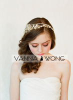 F074 - Golden flower and rhinestone Shinning handmade Bridal Wedding Crown headpiece head band