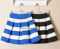 Special selling Fall Fashion Korea Knitting Black and White Horizontal stripes Skirt Tutu Waist Skirts short Skirt