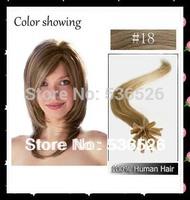 "Human Hair 22"" Keratin U tip/ Nail tip hair extension 0.7gram/Piece Brazilian virgin hair #18 Dark Ash Blonde 70gram/LOT"
