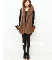 New 2014 Women Vest Coat Outwear Coats Appliques Button Pockets Casual Sleeveless Warm Winter White Black Khaki Plus Size