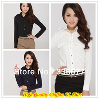 Free Shipping Promotional High Quality Slim Fit Two Pockets Chiffon Office Lady's Shirt QR-4937