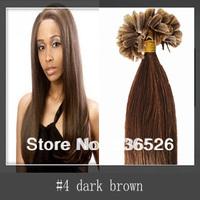 Peruvian virgin hair 100g /100strands 26inch Cheap Keratin nail tip Human Hair #4 Dark Brown Nail hair/U tip hair