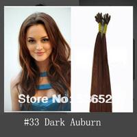 "Remy human hair extension16""18""20""22""26"" pre bonded Keratin Nail tip 100gram #33 Dark Auburn Brown color 100pieces/Lot"