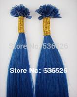 Peruvian virgin hair pre bonded Keratin Nail tip remy human hair extension 100gram Blue Human Hair100pieces/Lot