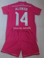 14/15 Real Madrid ALONSO 14 Thailand quality Away Pink Soccer Jerseys Kits(Jersey + short ), RONALDO jersey + can custom names