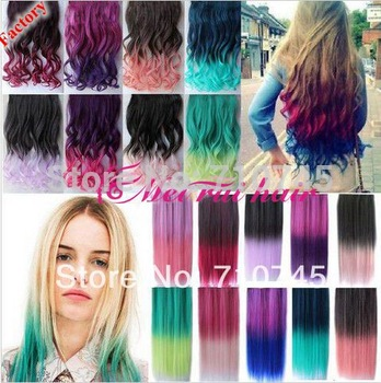 Top fashion New 20 Colors Rainbow Women Hair Extensions Curl Synthetic Clip in on  Double color gradient free shipping