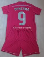 BENZEMA #9 Real Madrid Away Pink New Soccer Jerseys Uniforms (shirts+shorts) 2015 ISCO 23 RONALDO 7 jersey + can custom names