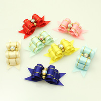 Armi store Handmade Pet Dog Grooming Accessories Classic Pop Sparkling Rhinestones Ribbon Hair Bow Latex Ring