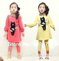 spring /autumn New style girl's Little bear dynamic guitar long-sleeved dress+ legging suit ,1 set/lot,1set/lot