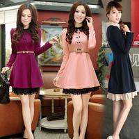 New 2014 Fashion Elegant A-line Slim Fit Women Ladies Dresses Autumn Winter Vintage Women Dress With Belt #L0341466