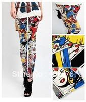 Free Shipping Blackmilk Graffiti Cartton Girl Pattern Women's Leggings Wholesale and Retail
