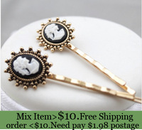 ZH0702 cameo  Barrettes 18K gold plated  hair pins and clips Vintage cute hair accessories fashion