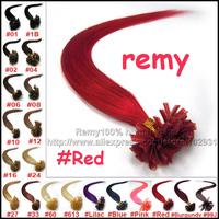 "AAA grade Keratin U Tip Remy Brazilian Human Hair Extension silky straight 16""18""20""22""26"" 40g 50g 60g 70g 100g # Red"