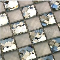[Mius Art Mosaic]  Beveling edge glossy and matt whhite color 13 faced mirror glass mosaic tile for kitchen backsplash B7PSH-01M