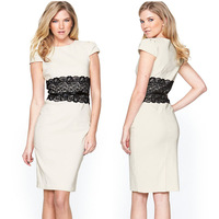 2013 New European Fashion Women Elegant Stretchy Knee Length Slim Bodycon Evening Party Dress with Belt 9020