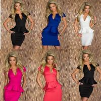 2015 Hot Plus Size S-XL Women Bandage Dress Lady Sexy U-neck Peplum Dress Party Bodycon Dresses Pink Black White Blue Clothing A