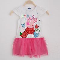 Peppa pig 2014 New summer dress children's clothing baby girls peppepig party Dress Children child wear Kids dresses D005