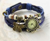 30pcs/lot Fashion ladies knit bracelet watch Butterfly Pendant Girls Bracelet Watch Students retro fashion watch