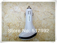 USB Car Charger For Cell Phones Samsung S3/S4 Apple Iphone 4/5 HTC White Color Free Shipping