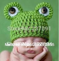 Handmade Green Frog Hats Newbaby Photography Newborn Infant Baby Animal Beanie Caps Knitted Cashmere 0-6 Months Children