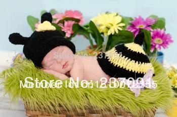 Handmade Honeybee Sets Newbaby Photography Bee Newborn Photo Infant Baby Animal Beanie Caps Hats Knitted Cashmere 0-6 Months