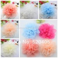 "Solid chiffon rose flowers 4.5""chiffon soft silk flowers hair rosette flowers flat back petti skirt flowers for headband 50PCS"
