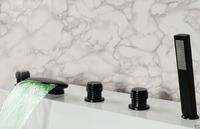 Luxury Led Bathroom Tub Faucet Oil Rubbed Bronze 5pcs LED Color Change Bathtub Mixer Tap With Handheld Shower
