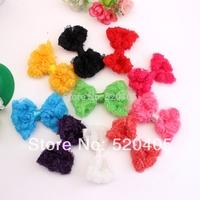 Hot sale Mini shabby bows hair accessories 3 Inch shabby flowers for headband jewelry accessory chiffon rose 50