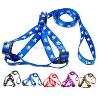 Paw Print  Nylon Puppy Dog Pet  Walking Harness & Leash Set  Adjustable