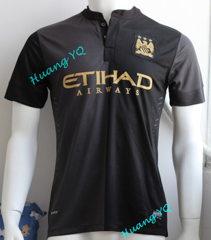 13 14 Manchester City away black soccer shirts Top Thai Quality  football jerseys Manchester City player version Free Shipping