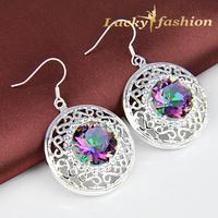 Fashion new 2014 brincos femininas sterling silver jewelry plated crystal bridal wedding drop earrings for women