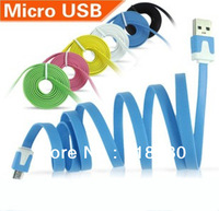 Color 5PIN Micro USB Cable Noodle Sync Charger Data for Samsung HTC LG Huawei Android Phone Table PC Free Shipping Track Number