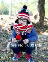 Boy and girls winter hat Children knitted hat with scarf  Kids Star pattern beanie Baby scarf Infant scarf  5set  5color
