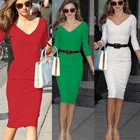 Sexy Womens Midi Length Office Slim Party V Neck 3/4 Sleeve Bodycon Stretch Party Pencil Dress