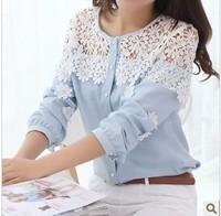 New fashion 2014 elegant women clothing sweet crochet flower long-sleeve chiffon shirt cardigan lace patchwork lady blouses _10