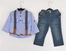 hot-selling children's clothing set boys Sling strap denim suit boy shirt+ strap jean 2-piece suit set high quality freeshipping(China (Mainland))