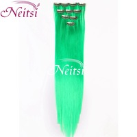 12 colors Long Solid Color Snythetic Clip On In Hair Party Highlights Extensions Straight Hair piece Retails # Green