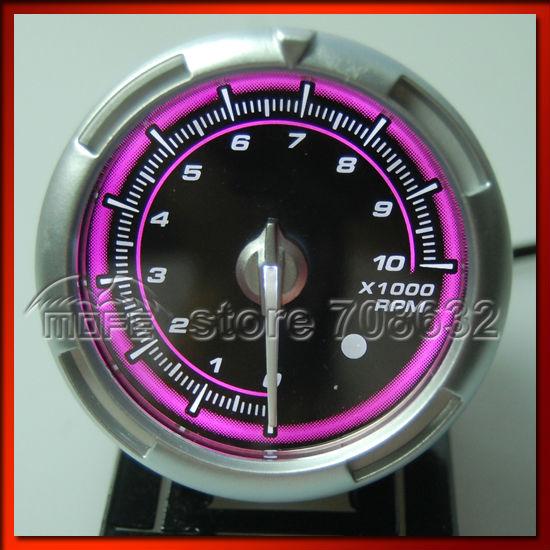 60MM Original Logo C2 Tachometer RPM Meter Auto Gauge For Car Pink    Tachometer Logo