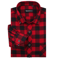 [MG34] Famous Brand Men Fashion Long sleeve Red Black Checked Shirt Casual Slim fit Thickening Plus Size S-4XL High Quality