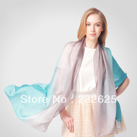 2013 new 100% Silk scarf pure silk mulberry silk female scarf gradient long silk scarf metal pendant