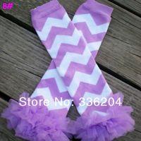 Free Shipping Chevron Leg Warmers Purple Ruffle Leg Warmers Baby Girl Leggings Baby Shower Gift Chevron 20pairs/lot