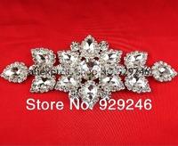 free shipping 6.3*14cm sparkling clear glass crystal rhinestone applique DIY wedding evening dress shoulder sewing decoration