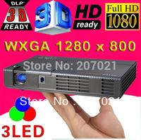 New technology ATCO Portable Full HD Projector 1080p DLP Link shutter Real 3D DLP 3LED Mini Beamer Overhead projectors projektor
