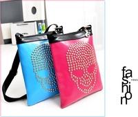 Free shipping2013 new mosaic skull rivet shoulder bag Messenger bag fluorescence casual handbags exquisite minimalist packet