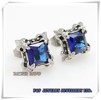 One Pair Of Cool Men's Women's Sapphire CZ 316L Stainless Steel Stud Fashion Earrings, Free shipping,E#039