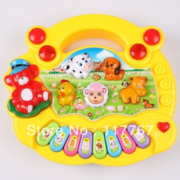 1PC Wholesale Baby Kid's Animal Farm Mobile Piano Smart Music Toy Electric ENGLISH Early Learning Educational Xmas Gift 670362