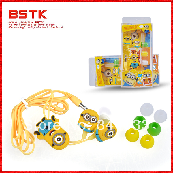 Free dropshipping Stylish Despicable Me The Minion Pattern General 3.5mm In-ear Earphone for Various Mobile Phones(China (Mainland))