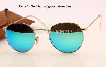 High Grade Brand vintage Sunglasses Lady Women Men glasses Round Metal Frame 3447 flash lens sunglass Gold Frame Green Mirror