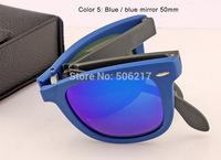 top selling original box case folding wayfarer sunglasses large size 54mm blue mirror flash lens 6020/17 blue frame Unisex