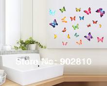 - 150 x 150 cm conjunto de 21 pcs colorido voando borboleta Animal DIY mural nursery adesivos de parede(China (Mainland))